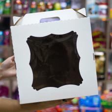 Короб для тортов с окном и с ручкой 26*26*30 см
