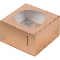 Короб на 4 капкейка (Золото)