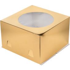 Короб для торта с окном 24*24*12 см (Золото)