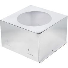 Короб для торта с окном 30*30*19 см (Серебро)