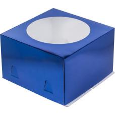 Короб для торта с окном 26*26*18 см (Синяя)