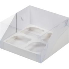 Короб на 4 капкейка с прозрачной крышкой (Белый)