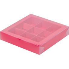 Коробка для конфет с пластиковой крышкой 15,5*15,5*3 см (9) (красная матовая)
