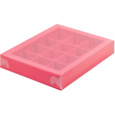 Коробка для конфет с пластиковой крышкой 19*15*3 см (12) (красная матовая)