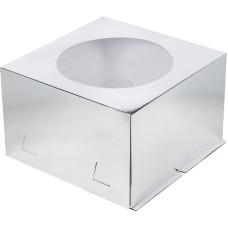 Коробка для торта с окошком 26*26*18 см (серебро) Х-Э