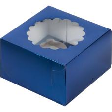 Коробка под капкейки с окошком 16*16*10 см (4) (синяя)