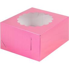 Коробка под капкейки с окошком 16*16*10 см (4) (фуксия)