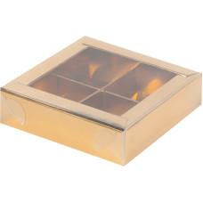 Коробка для конфет с пластиковой крышкой 120*120*30 мм (4) (золото)
