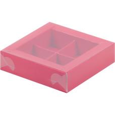 Коробка для конфет с пластиковой крышкой 120*120*30 мм (4) (красная матовая)