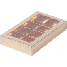 Коробка для конфет с пластиковой крышкой 190*110*30 мм (8) (золото)