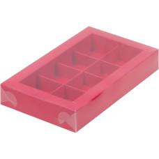 Коробка для конфет с пластиковой крышкой 190*110*30 мм (8) (красная матовая)