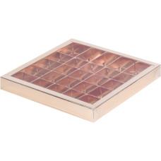 Коробка для конфет с пластиковой крышкой 245*245*30 мм (25) (золото)