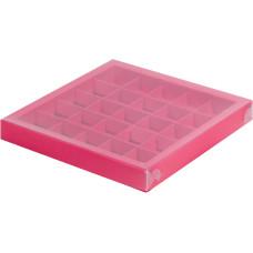 Коробка для конфет с пластиковой крышкой 245*245*30 мм (25) (красная матовая)