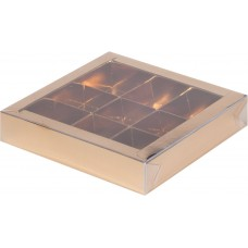 Коробка для конфет с пластиковой крышкой 15,5*15,5*3 см (9) (золото)